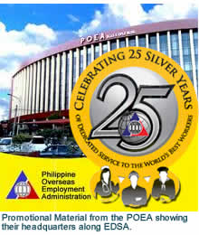 Promotional Material from the POEA showing their headquarters along EDSA