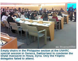 Empty chairs in the PH section at the UNHRC special session in Geneva, Switzerland to condemn the brutal massacre in Houla, Syria. Only the Fiilipino delegates failed to attend
