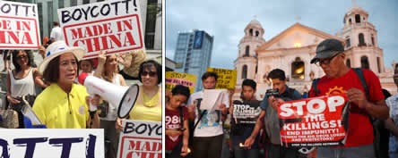 Loida Nicolas Lewis at an Anti-China rally (left photo). Filipinos demonstrate against extrajudicial killings (right photo)