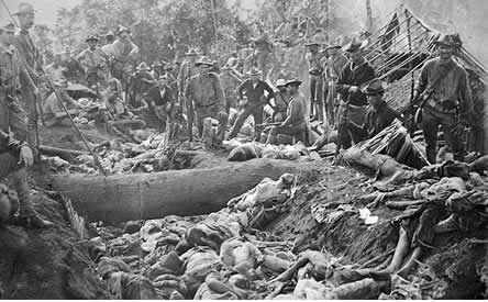 The bodies of Moro insurgents and civilians killed by US troops during the Battle of Bud Dajo in the Philippines, March 7, 1906
