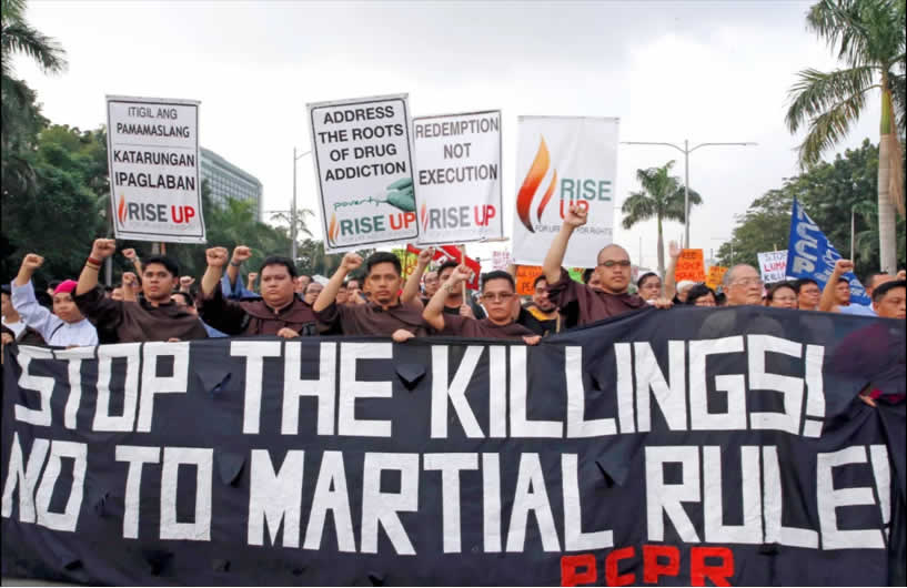 Protesters in Manila mark the 45th anniversary of Martial Law on Sept 21, 2017