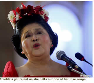 Imelda's got talent as she belts out one of her lovesongs